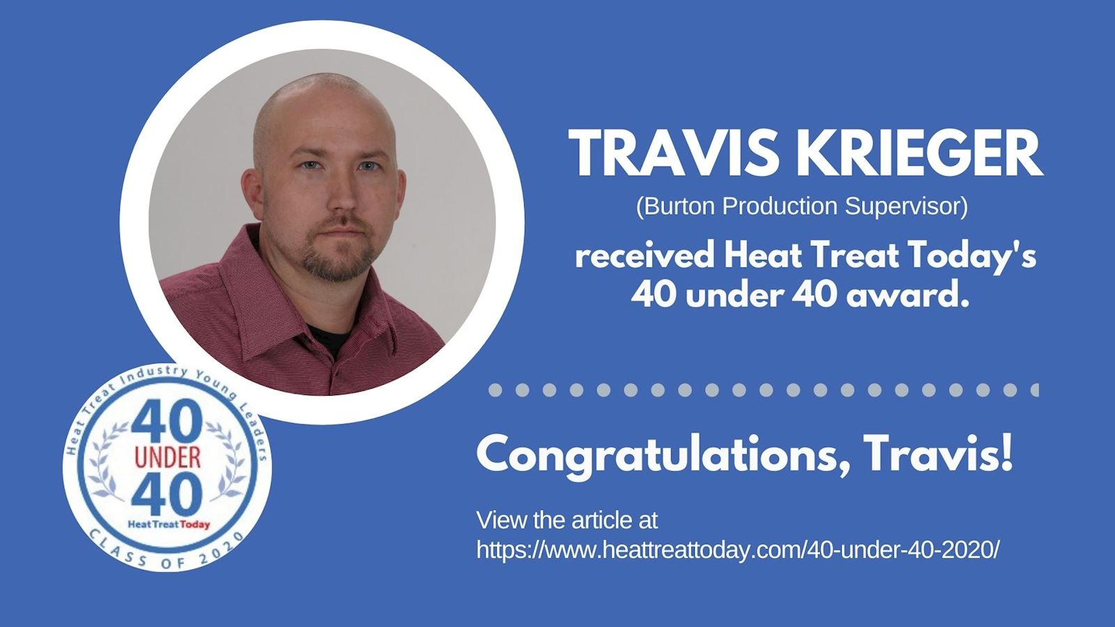Heat Treat Today's 40 under 40: Travis Krieger